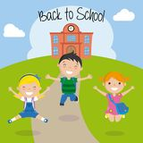 Happy children for the return to school.  vector illustration