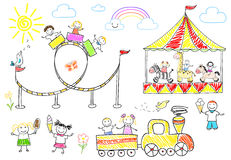 Happy children ride on the carousel Stock Photography