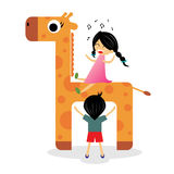 Happy children ride on giraffe Stock Photos