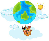 Happy children riding balloon with earth pattern in sky. Illustration Royalty Free Stock Photography