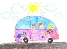 Happy children riding in car. Drawing Royalty Free Stock Photography