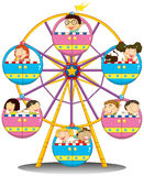 Happy children riding the ferris wheel. Illustration of the happy children riding the ferris wheel on a white background Royalty Free Stock Image