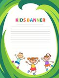 Happy children run on the banner vector template colorful backround. Cartoon Stock Photography