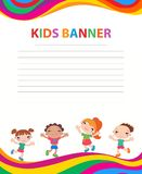 Happy children run on the banner vector template colorful backround. Cartoon Stock Photo