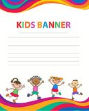 Happy children run on the banner vector template colorful backround. Cartoon Royalty Free Stock Image