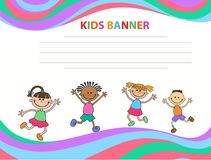 Happy children run on the banner vector template colorful backround. Cartoon Royalty Free Stock Photo