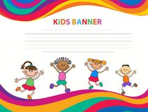 Happy children run on the banner vector template colorful backround. Cartoon Stock Images
