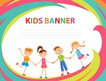 Happy children run on the banner vector template colorful backround. Cartoon Stock Image