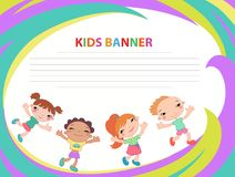 Happy children run on the banner vector template colorful backround. Cartoon Royalty Free Stock Images
