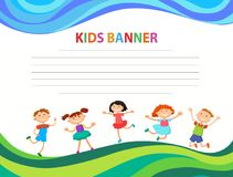 Happy Children Run On The Banner Vector Template Colorful Backround Royalty Free Stock Images