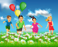Happy children running in the field. Vector illustration of four happy children running with balloons on flower field Stock Photo