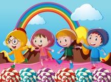 Happy children running in wonderland. Illustration Royalty Free Stock Photography