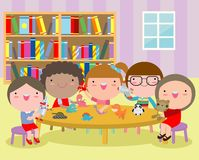 Happy children`s activity in the kindergarten, cute kids with playing toy, Group of happy school child in classroom, education. Vector Illustration royalty free illustration