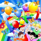Happy Children's Birthday. A Colored Background for Children's Birthday Stock Image