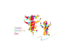 Happy children`s day. Greeting to happy children`s day with colorful silhouettes of two childrens Stock Photo