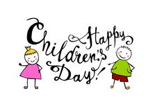 Happy Children`s day. June 1 holiday card. Happy Children`s day. June 1 holiday vector card Royalty Free Stock Photos