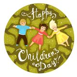 Happy Children`s day. June 1 holiday. Vector card Stock Photo