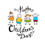 Happy Children`s day. June 1 holiday card. Happy Children`s day. June 1 holiday vector card Royalty Free Stock Image