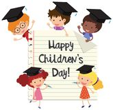 Happy children`s day with kids wearing graduation caps Stock Photos