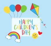 Happy children`s day vector greeting card. Happy Children`s Day! 1st June, celebration of kids, greeting card with rainbow, balloons, kite, smiley face and heart royalty free illustration