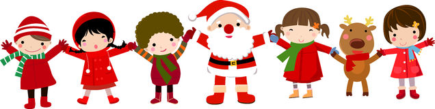 Happy children and santa Stock Photography
