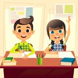Happy children at school desk. Kids at school in class. The boy writes the assignment in the notebook. Girl two fingers up for ans. Wer. Cartoon flat students Royalty Free Stock Photography
