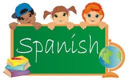 Children and spanish. Happy children at school learn spanish stock illustration
