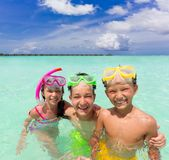 Happy children in sea Royalty Free Stock Photography