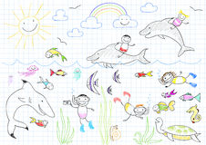 Happy children and sea animals Royalty Free Stock Images