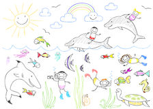 Happy children and sea animals Stock Photography