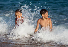 Happy children and sea Stock Photo