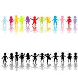 Happy children silhouettes Stock Photo