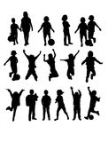 Happy Children Silhouettes Royalty Free Stock Photo