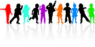 Happy children silhouettes. Boys and girls Stock Image