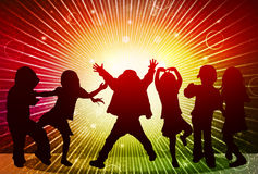 Happy children silhouettes. Crowd dancers Stock Image