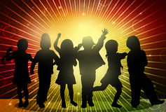 Happy children silhouettes. Happy dancers Stock Images