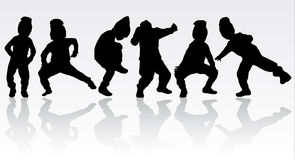 Happy children silhouettes. Dancing boys Royalty Free Stock Image
