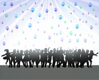 Happy children silhouettes dancing together. Color Stock Image