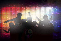 Happy children silhouettes dancing together Royalty Free Stock Images
