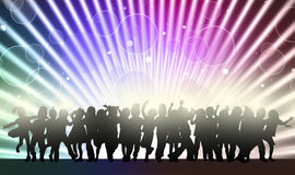Happy children silhouettes dancing together Stock Photos