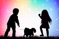 Happy children silhouettes Royalty Free Stock Image