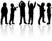Happy children silhouettes Stock Photography