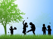 Happy children silhouettes outdoors Royalty Free Stock Photo