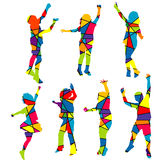 Happy children silhouettes patterned colorful mosaic background Royalty Free Stock Images
