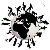 Happy children silhouettes playing over Earth glob Royalty Free Stock Image