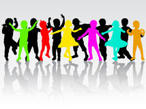 Happy children silhouettes Royalty Free Stock Images