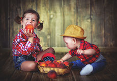 Happy children sister and baby brother with a basket of peaches Stock Photo