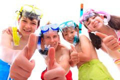 Happy children in snorkels royalty free stock image