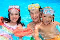 Happy children with snorkels Royalty Free Stock Photo