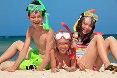 Happy children with snorkels Royalty Free Stock Image